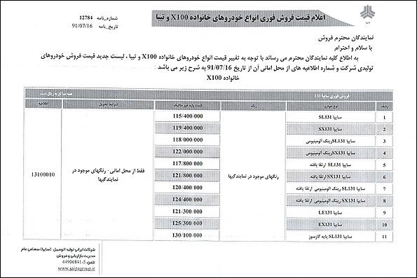لیست قیمت محصولات سایپا