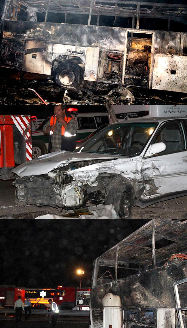 تصادف دیروز اصفهان حادثه دلخراش برخورد دو اتوبوس در اتوبان قم - تهران. (ایسنا)