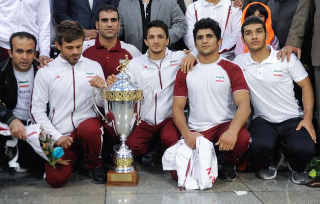 استقبال از تیم ملی کشتی فرنگی در فرودگاه امام خمینی