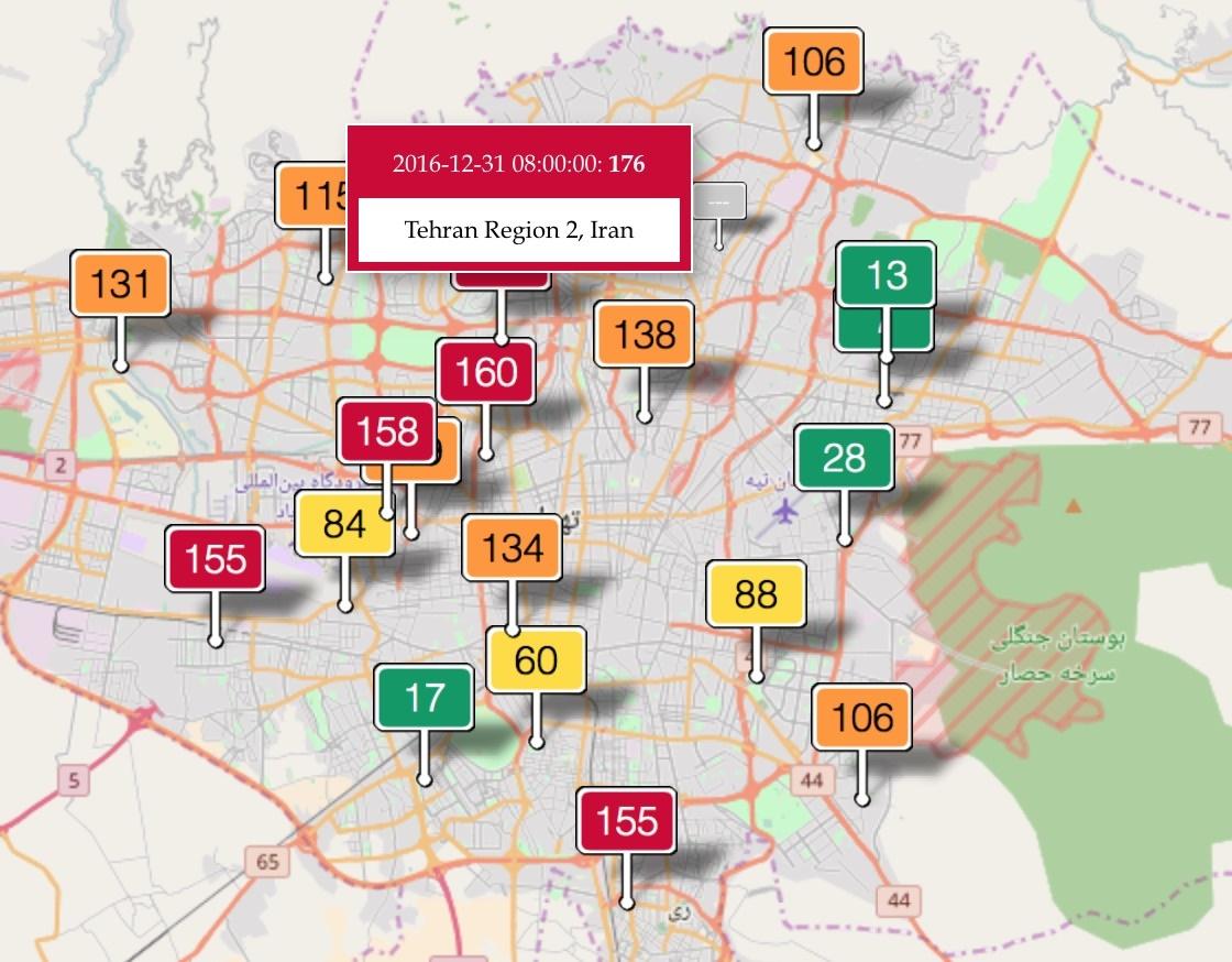 وضعیت قرمز هوا در ۵ منطقه تهران