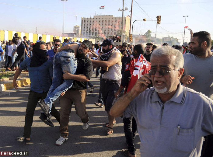 (تصاویر) حمله هوادارن مقتدی صدر به منطقه سبز