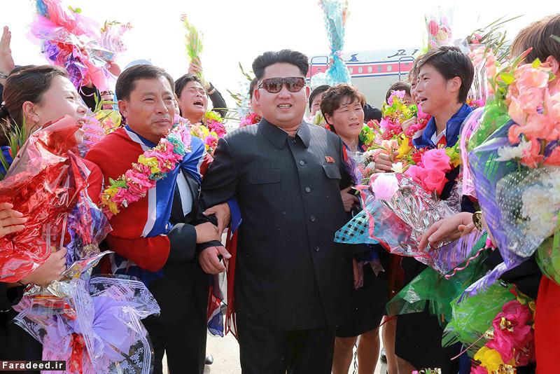 عکس های رهبر کره شمالی,دختران کره شمالی,کیم جونگ اون, عکسکیم جنوگ اون در بین دختران, رهبر کره شمالی دربین زنان