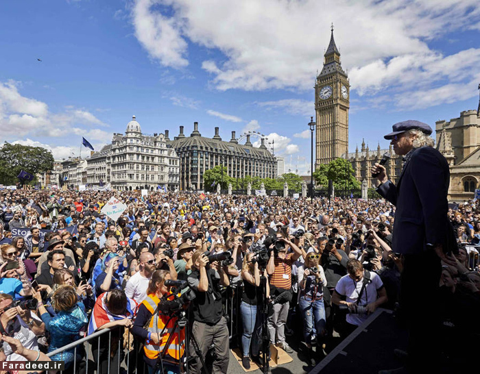 (تصاویر) تظاهرات مخالفان خروج از یورو در لندن