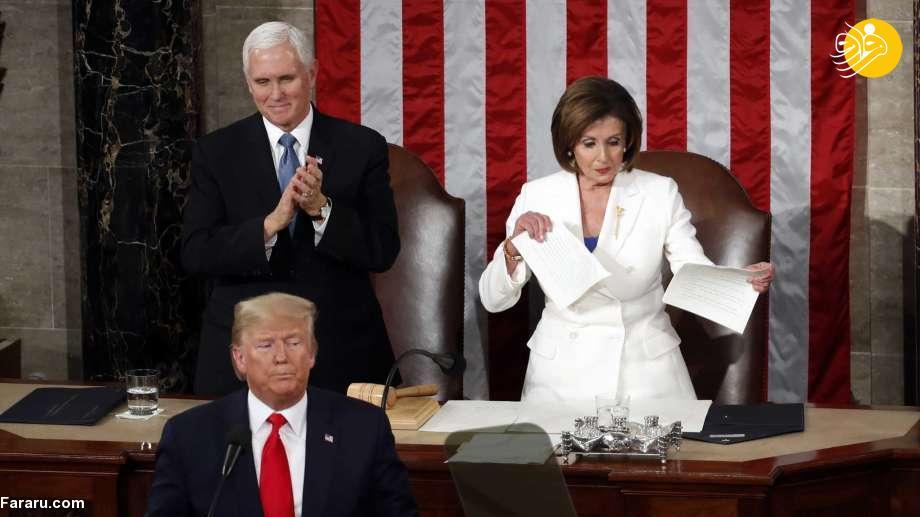 (ویدئو و عکس) نانسی پلوسی متن سخنرانی ترامپ را پاره کرد!