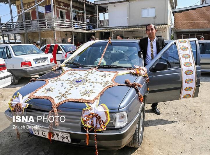 (عکس) ماشین عروس زیبای زوج ترکمن
