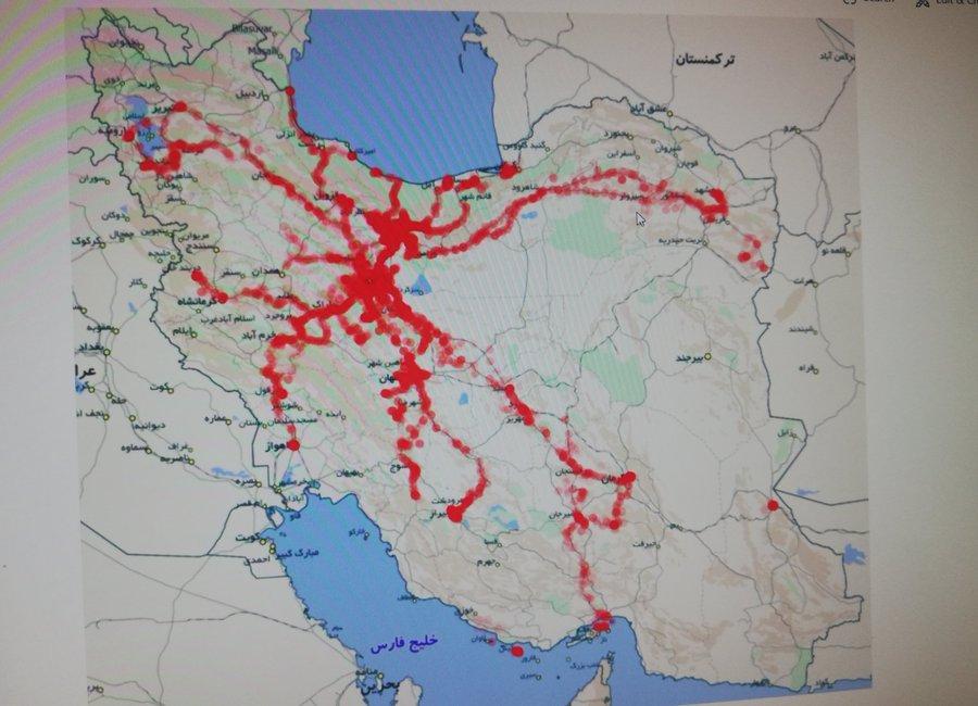 (تصویر) نقشه انتشار کرونا از مبدا قم