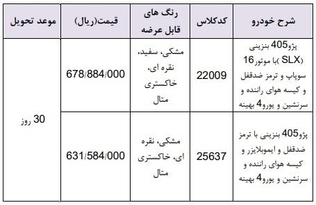 فروش فوری ایران خودرو ویژه 16 اردیبهشت؛ پژو 405 ۷۸ میلیون