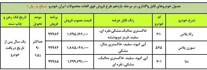 فروش فوری ۳ محصول ایران خودرو از امروز سهشنبه ۲۳ دی