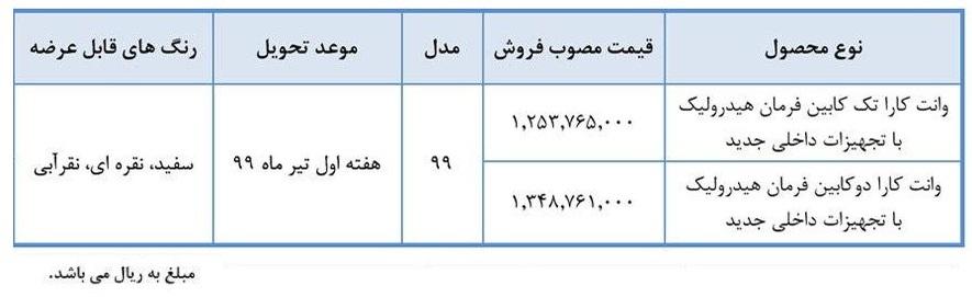 فروش نقدی وانت کارا؛ قیمت ۱۲۵ و ۱۳۵ میلیون + جزئیات