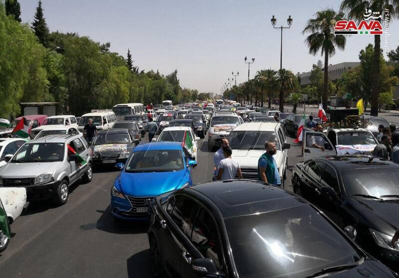 (تصاویر) کاروان خودرویی راهپیمایی روز قدس در سوریه