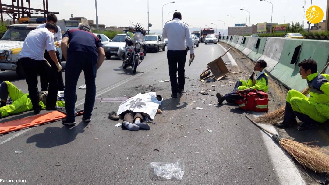 (تصاویر) مرگ دلخراش پاکبانان پل سید خندان