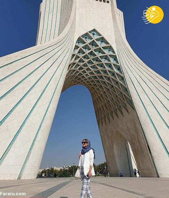 (تصاویر) هولیا دیکن بازیگر زن ترک در ایران؛ تمجید هولی دیکن از ایرانی زیر برج آزادی