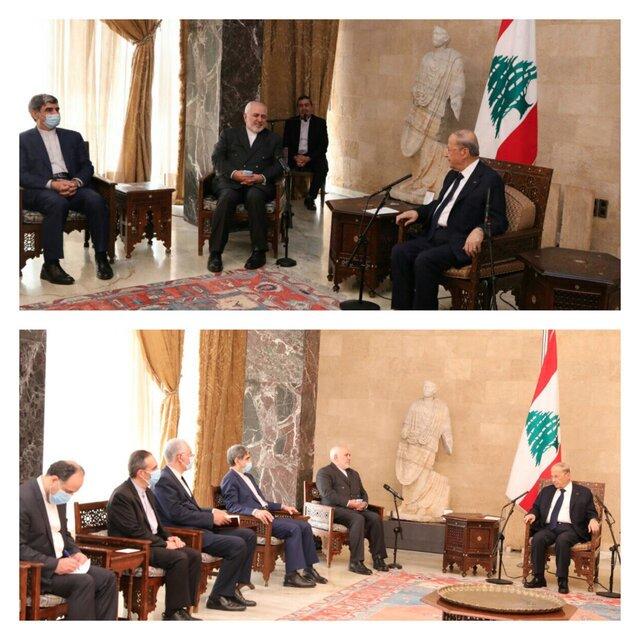 ظریف با رئیس جمهور لبنان دیدار کرد