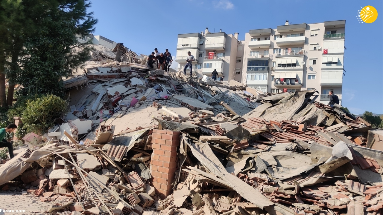 (ویدئو) لحظه هولناک وقوع زمین لرزه در ازمیر ترکیه