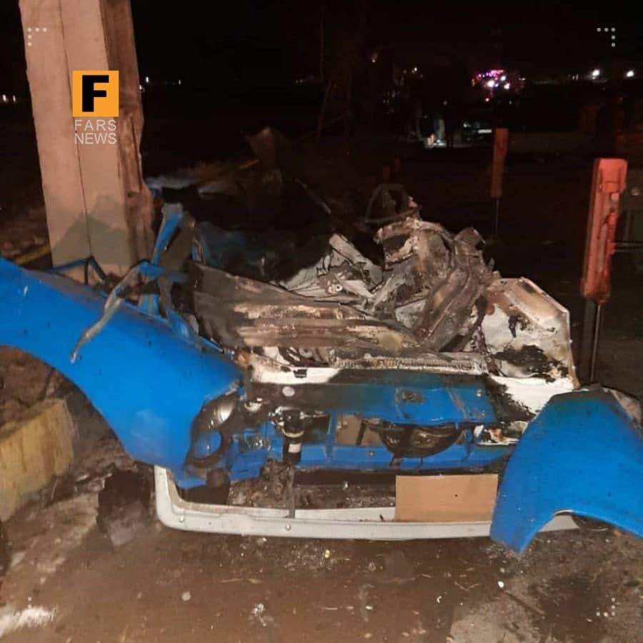 (تصویر) بقایای نیسان منفجر شده در مسیر خودروی شهید فخریزاده