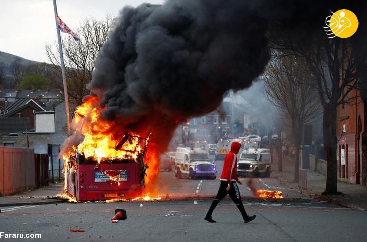 (تصاویر) اعتراضات خشونت بار در بلفاست