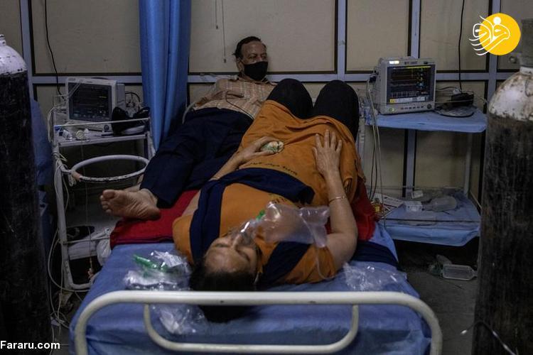 (تصاویر) کمبود تخت و اکسیژن برای بیماران کرونایی در هند