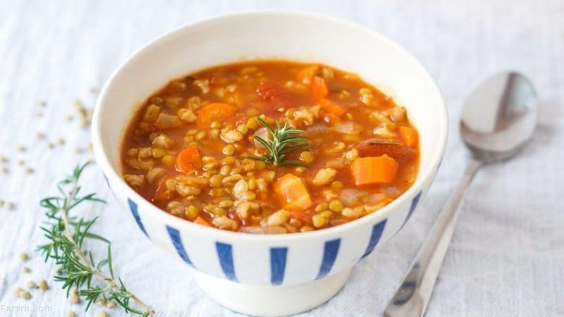 سوپ جو و هویج