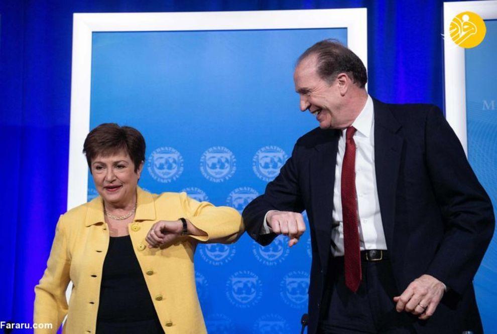 کریستالینا جورجیوا مدیر عامل صندوق بین المللی پول و دیوید مالپس معاون امور بین الملل وزیر خزانه داری