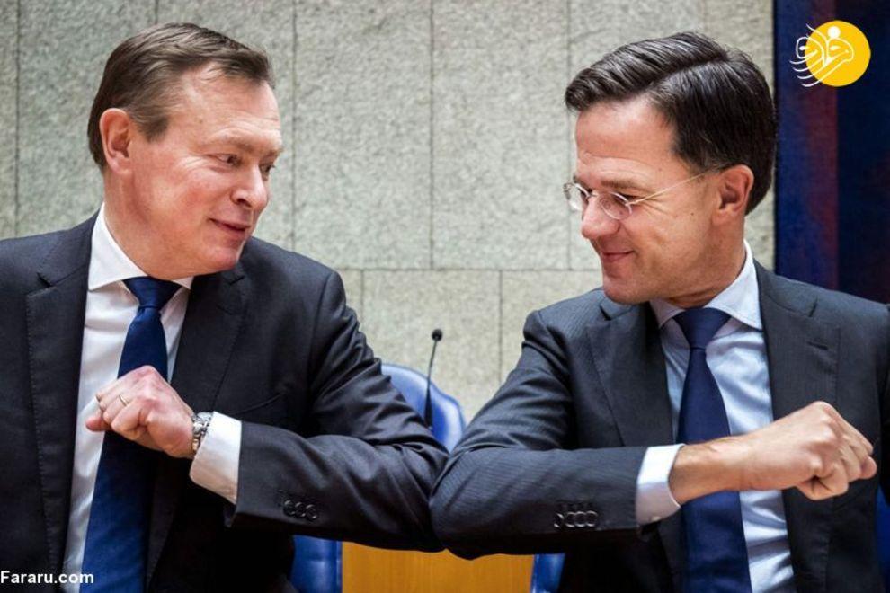 مارک روته نخست وزیر هلند و برونو بروینز وزیر بهداشت هلند