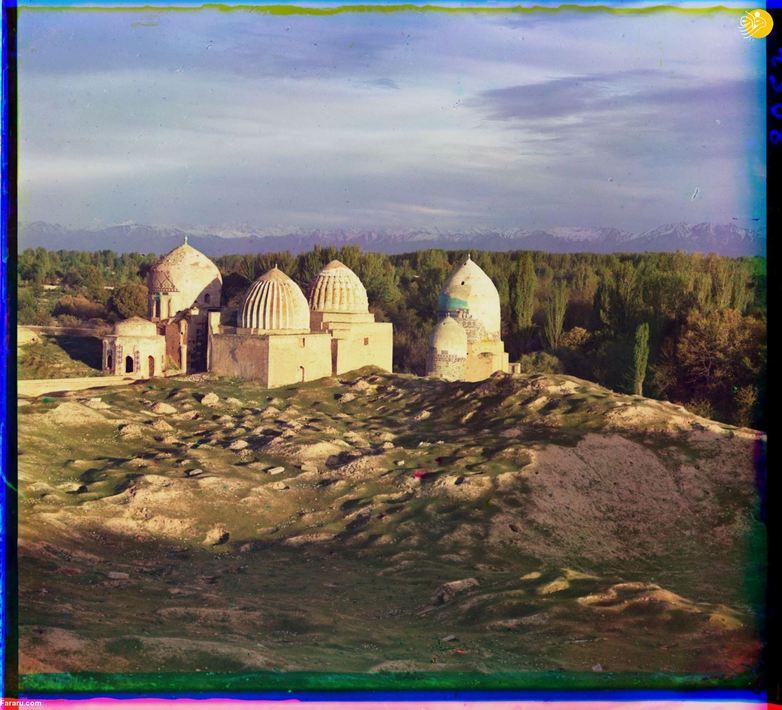 پرتو آفتاب بر مسجد شاه زنده سمرقند، یکی از مهمترین مزارهای این شهر.