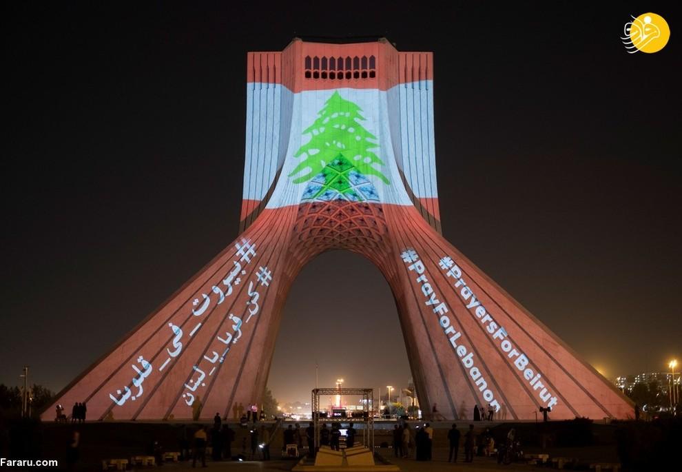 نورپردازی پرچم بیروت روی برج آزادی در اعلام همبستگی با قربانیان حادثه انفجار بیروت/ عکس: NurPhoto