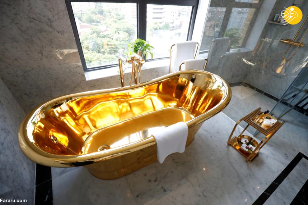 نخستین هتل طلایی جهان با توالت و حمام از طلای ۲۴ عیار+تصاویر