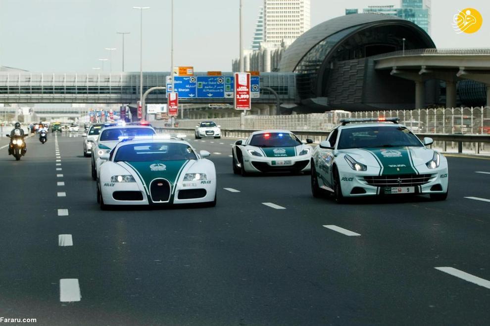 ناوگانی از ابرخودروهای پلیس دبی